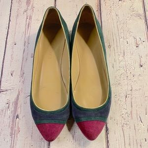 Talbots multicolor suede wedge flats 6.5